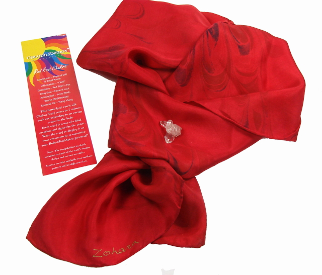 Beautiful Red Silk Chakra Scarves – Root Chakra Energy – handmade by Zohara – Free shipping over $60.