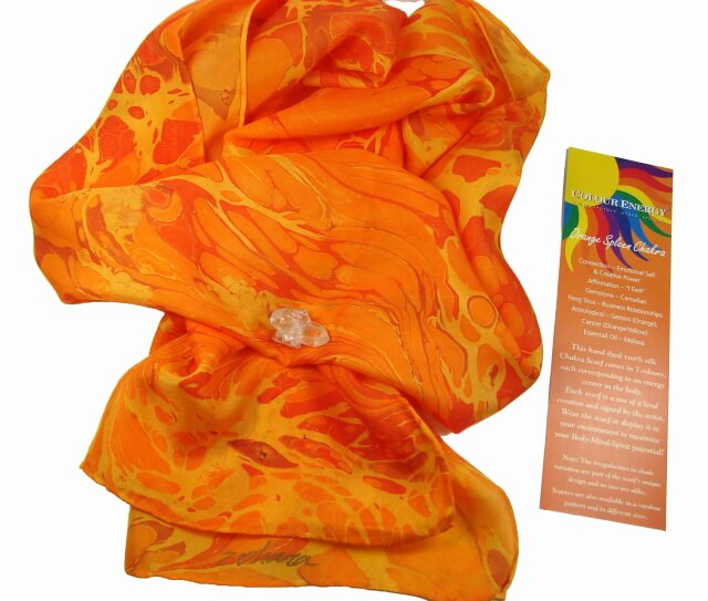 Beautiful Orange Silk Chakra Scarves - Sacral Chakra Energy - handmade by Zohara - Free shipping over $60.