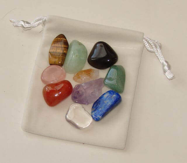Set of the best crystals & stones for children in a white velvet pouch - Free info on each stone & how to use with purchase - Free shipping over $60.